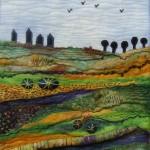 Zijde/wol landschap - Wil Fritsma